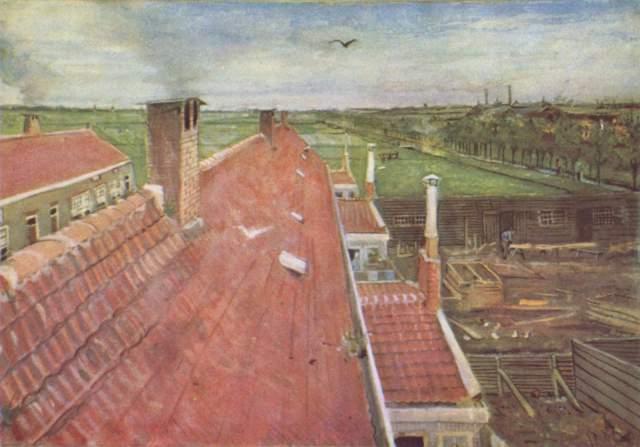 02-Vincent van Gogh, Çatılar, Atölyeden Görünüm, 1882
