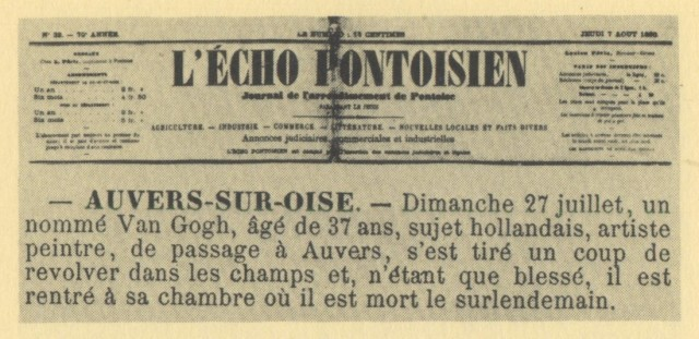 20. In the newspaper, the news of van Gogh's suicide in August 7, 1890